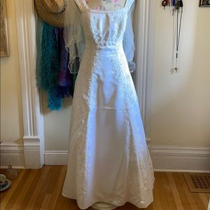 Beaded Wedding Gown with Veil and Bag